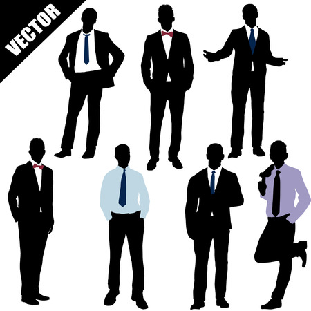 business suit: Set of successful businessman on white background, vector illustration