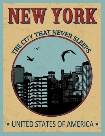New York ( The city that never sleeps) in vitage style poster, vector illustration Stock Vector - 24192357