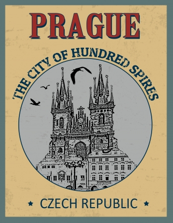 Prague ( The city of Hundred Spires) in vitage style poster, vector illustration Stock Vector - 24192373