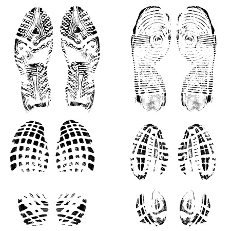 dirty feet: Set of four pairs of shoes print on white, vector illustration