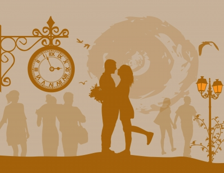 pareja apasionada: Una joven pareja en siluetas abrazar en el amor en el hermoso paisaje urbano, ilustraci�n vectorial