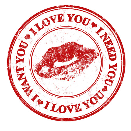 i want you: Red grunge rubber stamp with red lips and the text i love you, i want you, i need you written inside