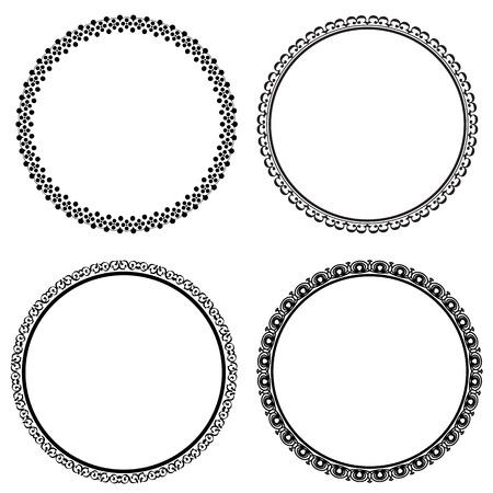 circle frame: Set of round frames on white background, vector illustration Illustration