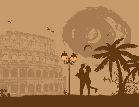 Couple silhouette in love in front of Colosseum in Rome , vector illustration Vector