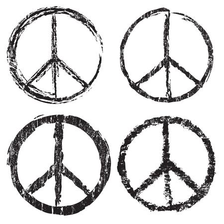 paz mundial: Conjunto de grunge s�mbolo de paz en el fondo blanco, ilustraci�n vectorial Vectores
