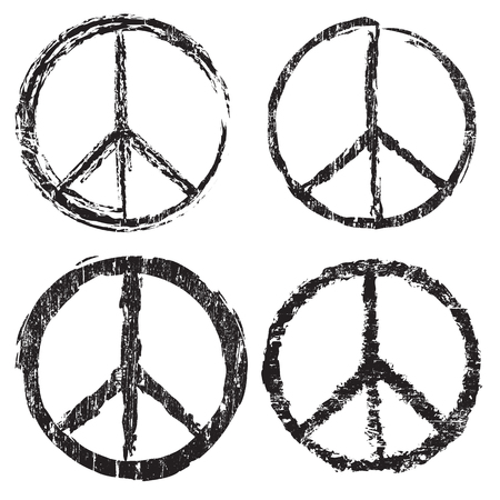 sign simplicity: Set of grunge peace symbol on white background, vector illustration