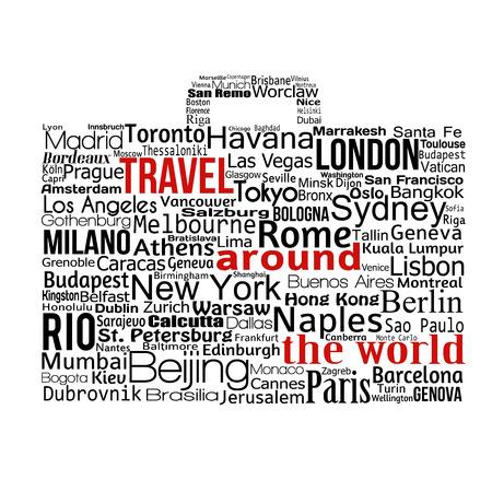 Reis rond de wereld concept gemaakt met woorden tekenen van een koffer, vectorillustratie Stock Illustratie