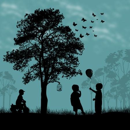 bimbi che giocano: Bambini che giocano in un parco bellissimo posto, illustrazione vettoriale Vettoriali