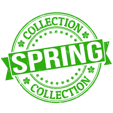 Spring collection grunge rubber stamp or label on white, vector illustration Stock Vector - 24349235