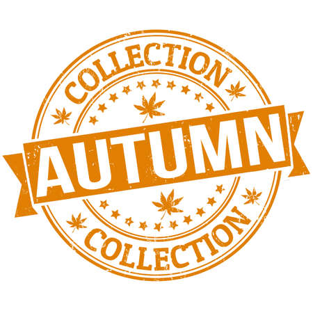 Autumn collection grunge rubber stamp or label on white, vector illustration Vector