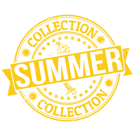 Summer collection grunge rubber stamp or label on white, vector illustration Stock Vector - 24349238