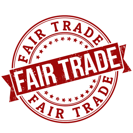 trade fair: Fair trade grunge rubber stamp or label on white, vector illustration