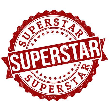 superstar: Superstar grunge rubber stamp on white, vector illustration Illustration