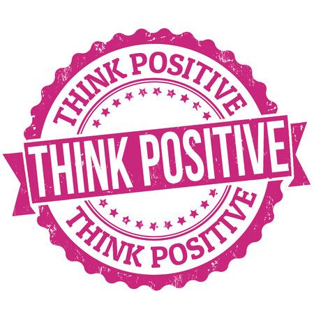 actitudes: Piense grunge sello de goma positivo sobre blanco, ilustraci�n vectorial