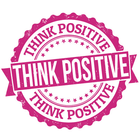 Think positive grunge rubber stamp on white, vector illustration Illustration