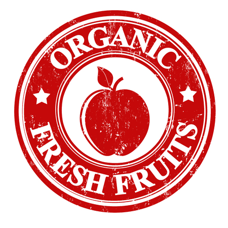 inspected: Apple organic fruit grunge rubber stamp or label on white, vector illustration