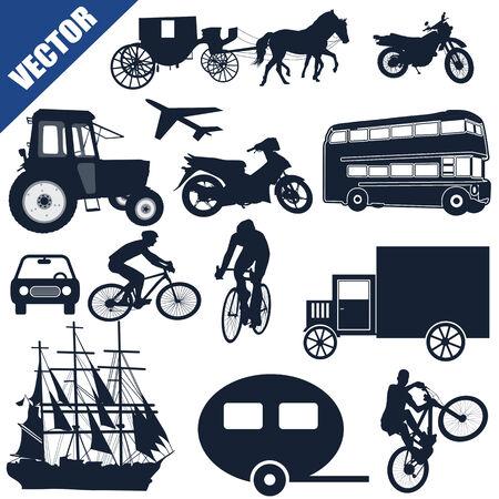 motor de carro: Colección de los iconos de transporte en blanco, ilustración vectorial