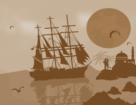 frigate: Large  tall ship on the high seas at dusk with lovers, vector illustration