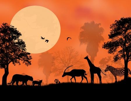 backlit: Sunset Safari - Wildlife silhouetted against a sunset, vector illustration