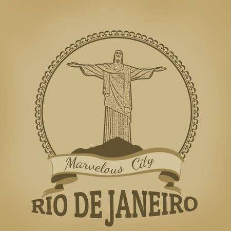 corcovado: Rio de Janeiro   Marvelous City  on vintage postcard, vector illustration Illustration