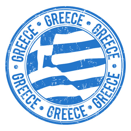 greece: Grunge rubber stamp with Greek Flag and the word Greece written inside, vector illustration Illustration