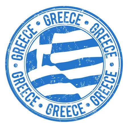 timbre voyage: timbre en caoutchouc grunge avec le drapeau grec et le mot écrit à l'intérieur Grèce, illustration vectorielle Illustration