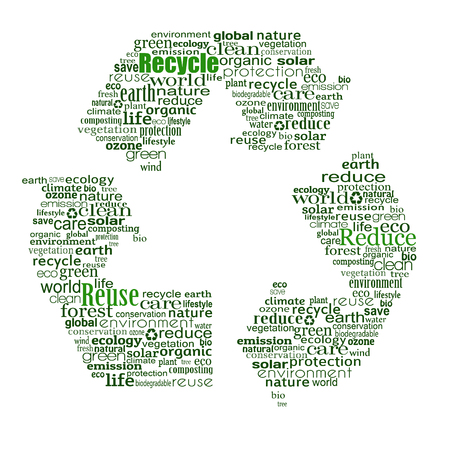 created: Recycle symbol created from words on white background, vector illustration