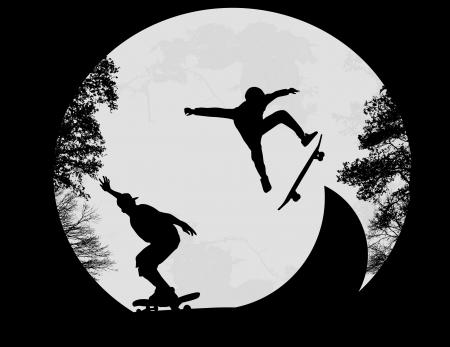 Silueta de un skaters haciendo un truco del tirón en el parque de patinaje