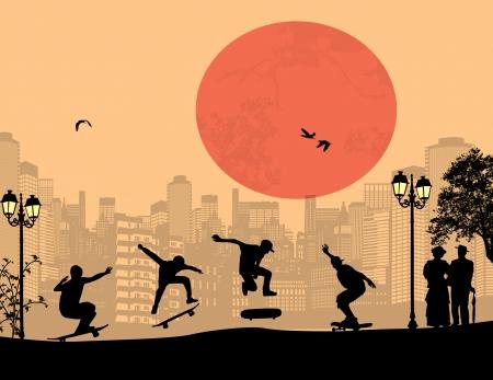 skater: Skater silhouettes in front of city landscape vector background Illustration