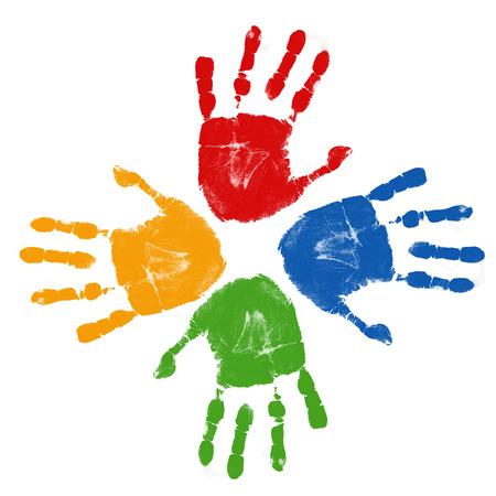 Set van kleurrijke hand wordt afgedrukt op een witte achtergrond, vector illustratie