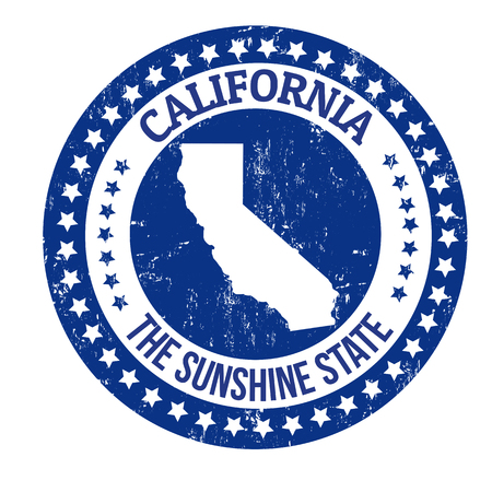 sunshine state: Vintage stamp with text The Sunshine State written inside and map of California, vector illustration Illustration
