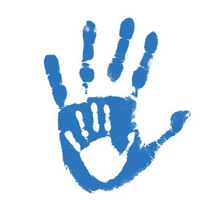 manos sucias: Padre e hijo huellas de manos sobre fondo blanco, ilustraci�n vectorial