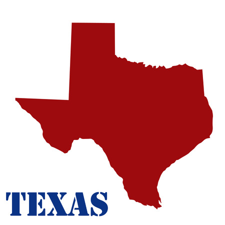 texas state: Map of Texas on white background, vector illustration