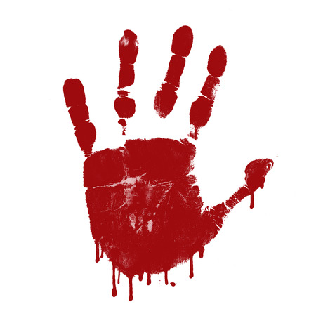 bloody hand print: Impresi�n sangrienta de la mano sobre fondo blanco, ilustraci�n vectorial
