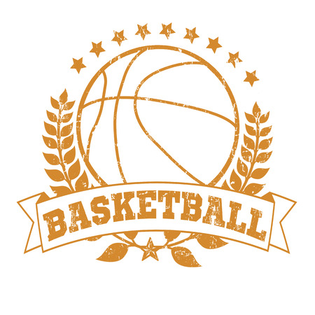 Grunge Basketball Laurel Wreath Crest on White Background, vector illustration Vector