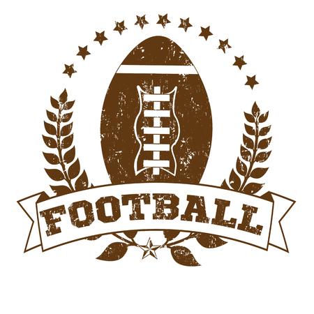 grunge football: Grunge Football Laurel Wreath Crest on White Background, vector illustration