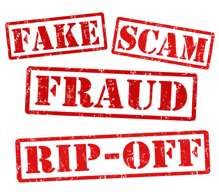 Fake, Scam, Fraud, Ripoff, grunge rubber stamps on white, vector illustration 向量圖像
