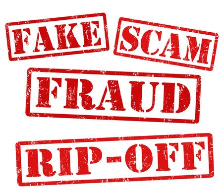 vals geld: Nep, oplichting, fraude, afzetterij, grunge stempels op wit, vector illustratie