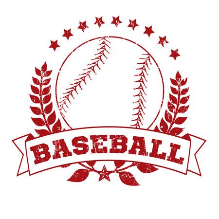 Grunge Baseball Laurel Wreath Crest on White Background, vector illustration Vector