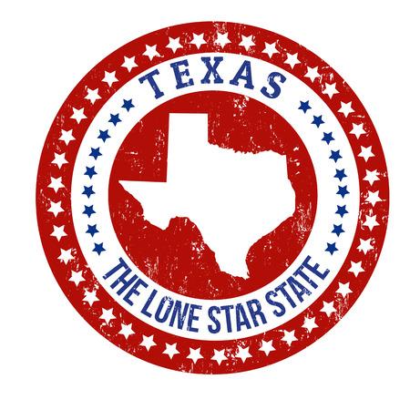 Uitstekende zegel met tekst The Lone Star State binnen geschreven en kaart van Texas, vector illustratie