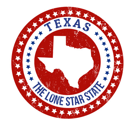 patriotic border: Vintage stamp with text The Lone Star State written inside and map of Texas, vector illustration