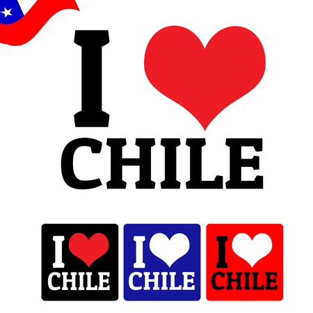 chile: I love Chile sign and labels on white background, vector illustration