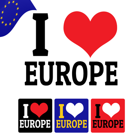 I love Europe sign and labels on white background, vector illustration Vector