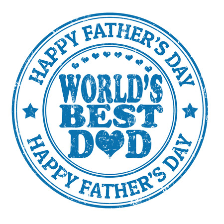 no 1: Happy fathers day grunge rubber stamp on white, vector illustration