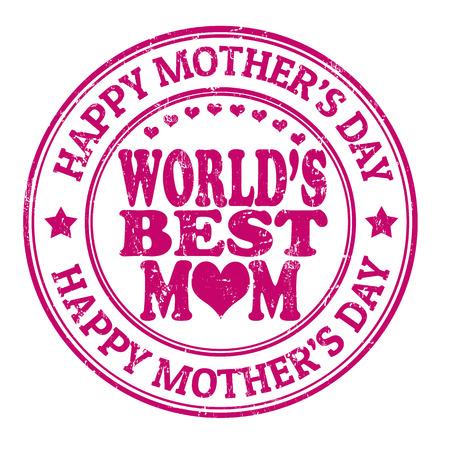 mums: D�a grunge sello de goma de la madre feliz en blanco, ilustraci�n vectorial Vectores