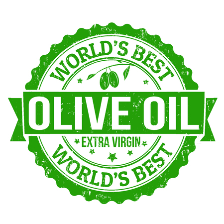 extra: Grunge rubber stamp with the olives and text Extra Virgin Olive Oil, vector illustration Illustration