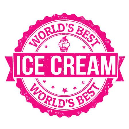 retro truck: Ice cream grunge rubber stamp on white, vector illustration