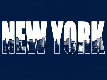青色の背景、ベクトル イラストでニューヨーク市の輪郭  イラスト・ベクター素材