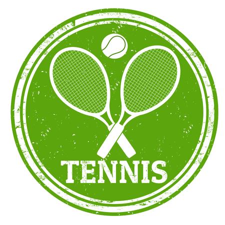 raqueta tenis: Tenis deporte grunge sello de goma en el fondo blanco, ilustraci�n vectorial