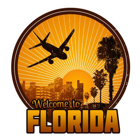 Bienvenue à l'étiquette du Voyage Floride ou timbre sur fond blanc, illustration vectorielle